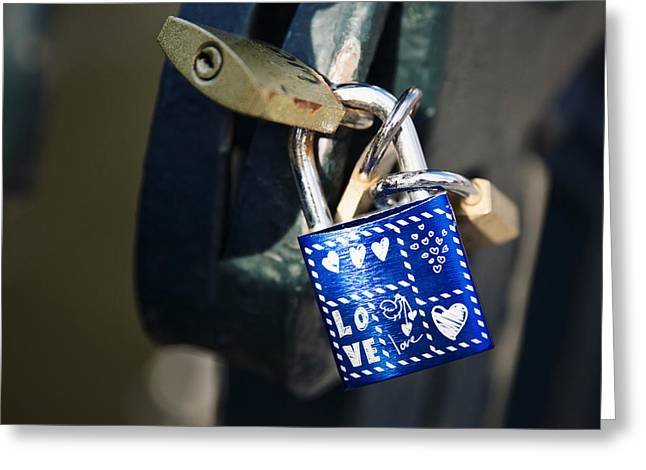 Padlock Greeting Cards - Love locks Greeting Card by Jane Rix