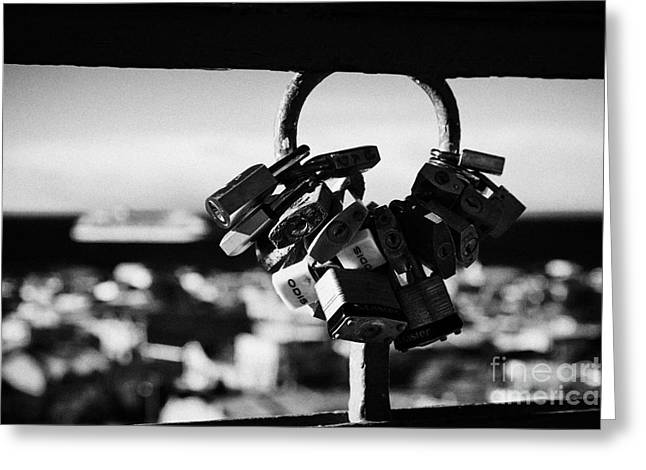 Lock Down Greeting Cards - love locks looking down over the city from la cruz viewpoint in Punta Arenas Chile Greeting Card by Joe Fox