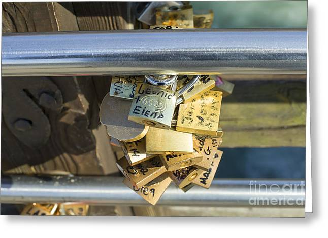 Fidelity Greeting Cards - Love locks on a bridge in Venice Greeting Card by Patricia Hofmeester