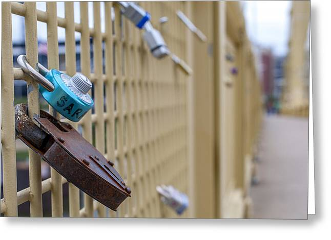 Clemente Greeting Cards - Love Locks Pittsburgh PA Bridge Greeting Card by Terry DeLuco