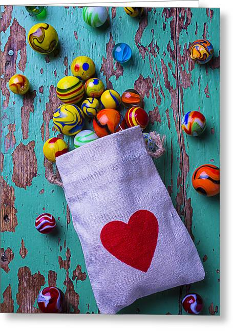 Bag Greeting Cards - Love Marbles Greeting Card by Garry Gay