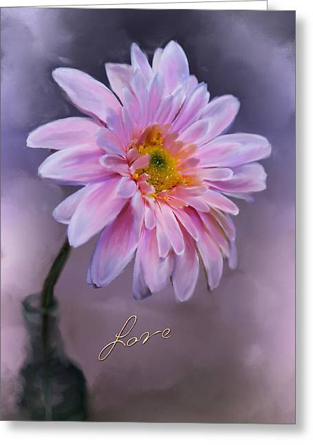 Flower Stems In Bottle Greeting Cards - Love Greeting Card by Mary Timman