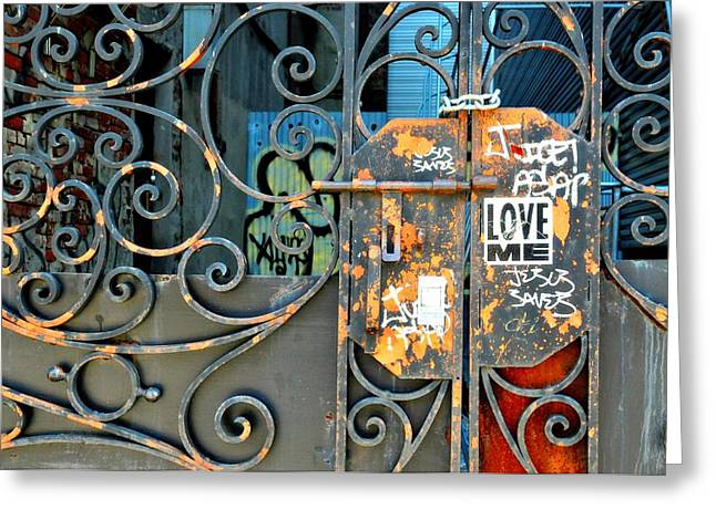 New York City Graffiti Greeting Cards - Love Me Greeting Card by Diana Angstadt