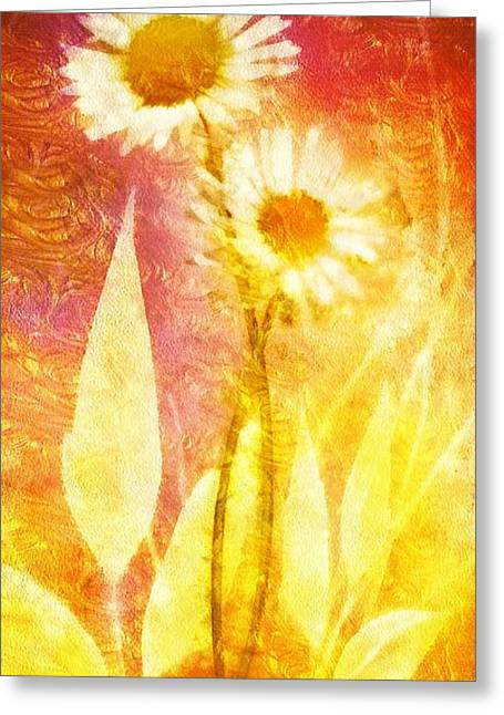 Heat Mixed Media Greeting Cards - Love Me Tender Gold Greeting Card by Mo T