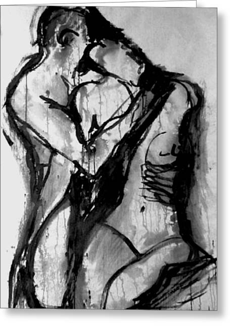 Nude Couple Greeting Cards - Love Me Tender Small Prints Greeting Card by Jarmo Korhonen aka Jarko