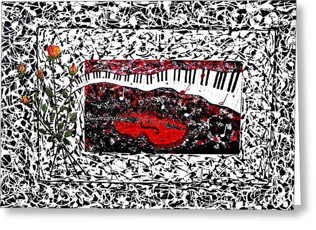 Violine Greeting Cards - Love Music Memories original PKD Series  Greeting Card by Georgeta Blanaru