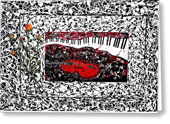 Love Music Memories Original Acrylic Painting  Greeting Card by Georgeta Blanaru