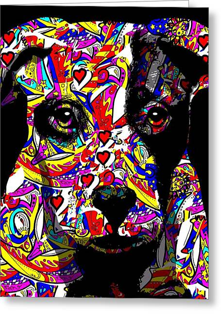 Framed Pit Bull Print Greeting Cards - Love My Pup Greeting Card by Cindy Edwards