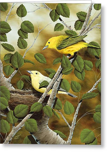 Warbler Greeting Cards - Love Nest Greeting Card by Rick Bainbridge