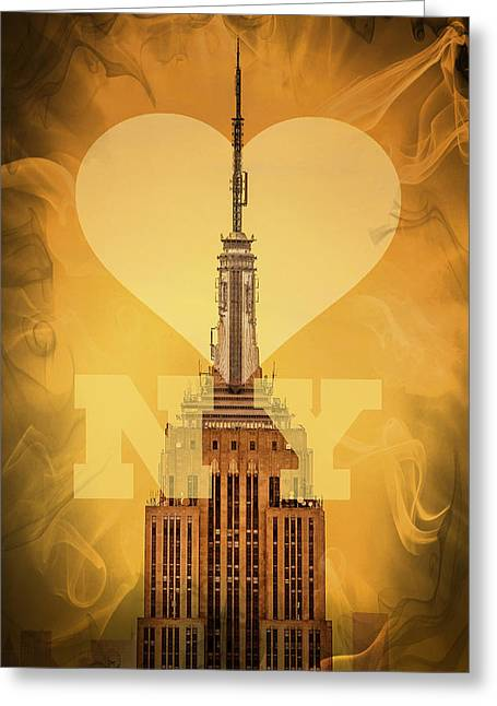 Tall Buildings Greeting Cards - Love New York Greeting Card by Az Jackson