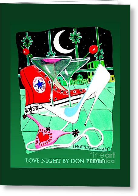 Sneaker Love Greeting Cards - Love Night Greeting Card by Don Pedro De Gracia
