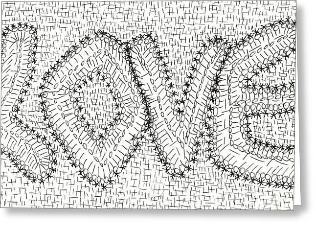 Geometric Image Drawings Greeting Cards - Love No 6 Greeting Card by J A   Art Gallery