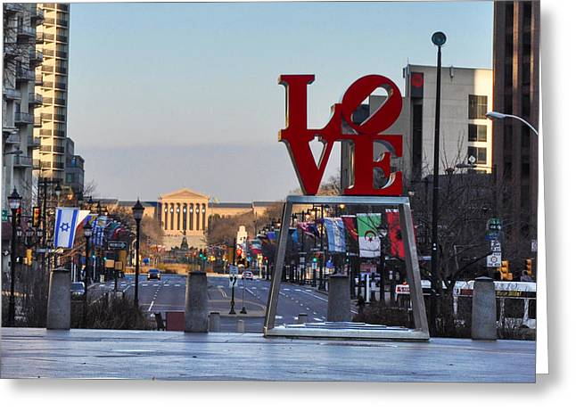 """love Park"" Greeting Cards - Love Park and the Parkway Greeting Card by Bill Cannon"