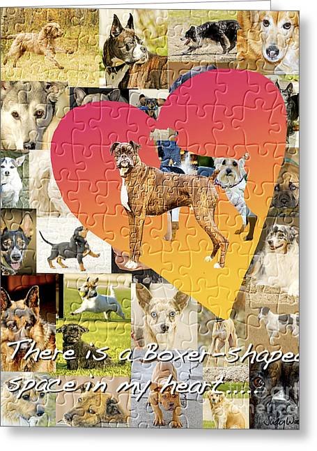Boxer Digital Greeting Cards - Love of Boxers Greeting Card by Judy Wood
