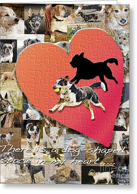 Running Dog Greeting Cards - Love of Dogs--general version Greeting Card by Judy Wood