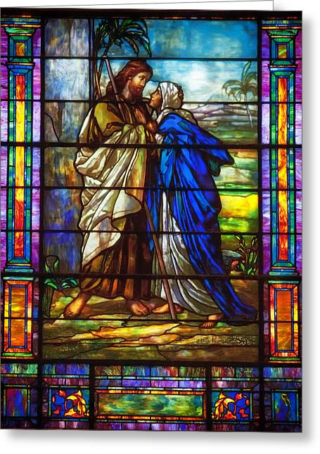 Stained Glass Glass Greeting Cards - Love of Jesus Greeting Card by Mountain Dreams