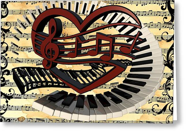 Valentine Gift Ideas Greeting Cards - Love of Music  Greeting Card by Louis Ferreira
