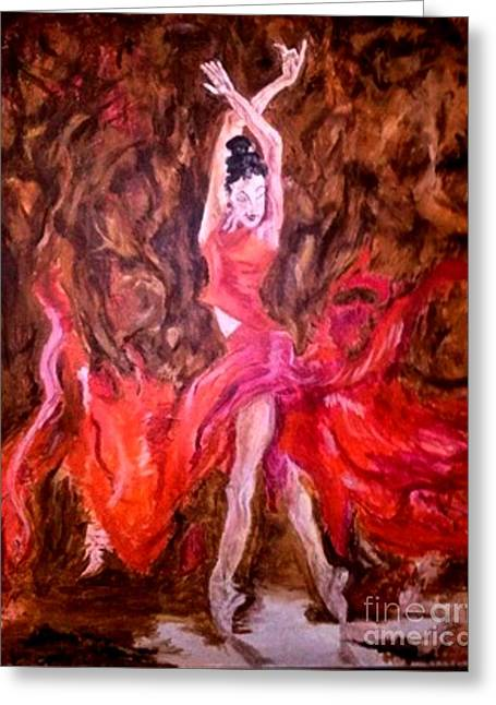 Michelle Greeting Cards - Love of the Dance in flight Greeting Card by Michelle Reid