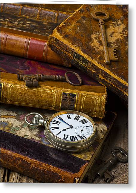 Pocket Watch Greeting Cards - Love old books Greeting Card by Garry Gay