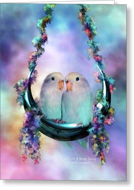 Love The Animal Greeting Cards - Love On A Moon Swing Greeting Card by Carol Cavalaris