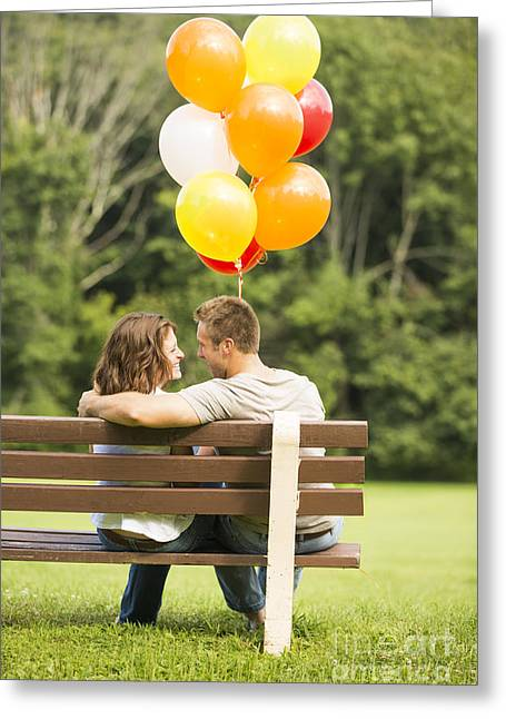 Embrace Greeting Cards - Love on a Park Bench Greeting Card by Diane Diederich