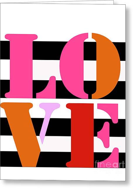 Surface Design Greeting Cards - LOVE on BW Stripes duvet Greeting Card by Anahi DeCanio - ArtyZen Home