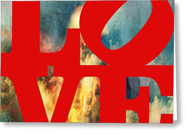 """robert Indiana"" Greeting Cards - Love On Fire Greeting Card by Paulette B Wright"