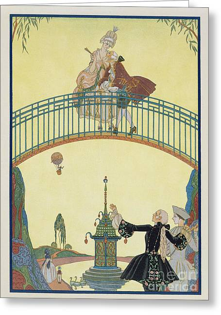 Attractiveness Greeting Cards - Love on the Bridge Greeting Card by Georges Barbier