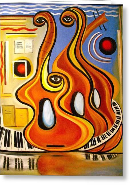 Dance Floor Paintings Greeting Cards - Love on the Dance Floor Greeting Card by Frank B Shaner