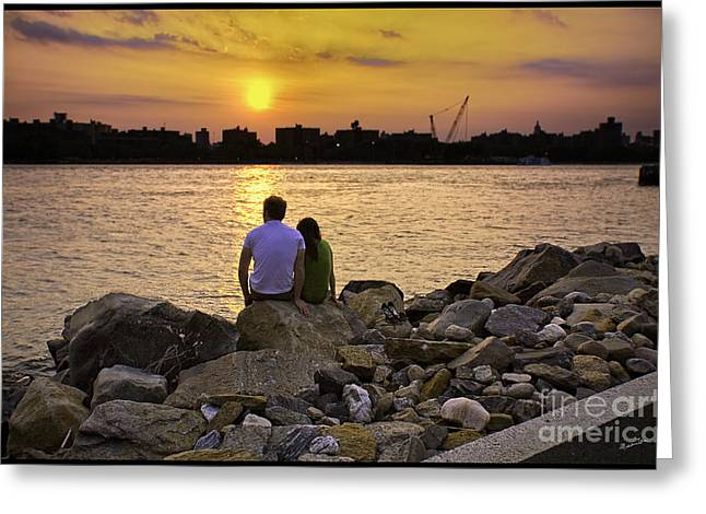 River View Greeting Cards - Love On The Rocks In Brooklyn Greeting Card by Madeline Ellis