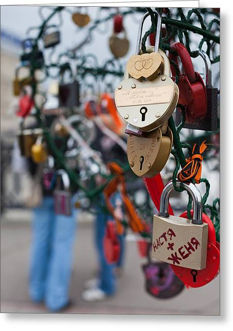 Padlock Greeting Cards - Love Padlocks On Footbridge By Repin Greeting Card by Panoramic Images