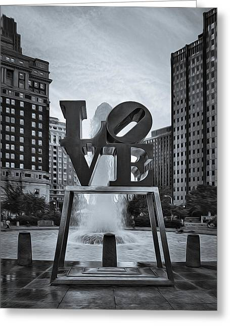 Philadelphia Museum Of Art Greeting Cards - Love Park BW Greeting Card by Susan Candelario