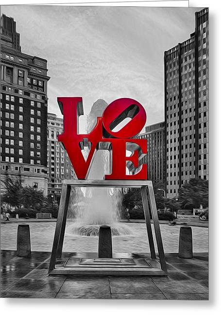 """robert Indiana"" Greeting Cards - Love Park II Greeting Card by Susan Candelario"