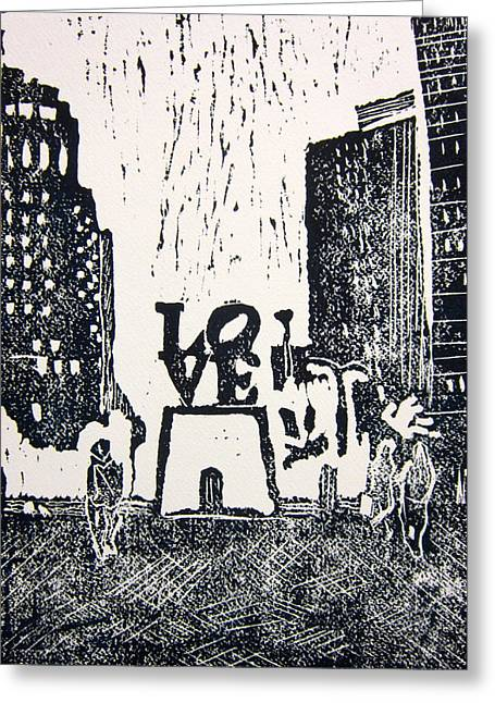 Linocut Greeting Cards - Love Park in Black and White Greeting Card by Marita McVeigh