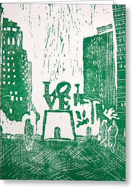 Linocut Greeting Cards - Love Park In Green Greeting Card by Marita McVeigh