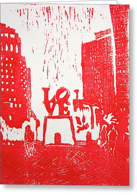 Linocut Greeting Cards - Love Park In Red Greeting Card by Marita McVeigh