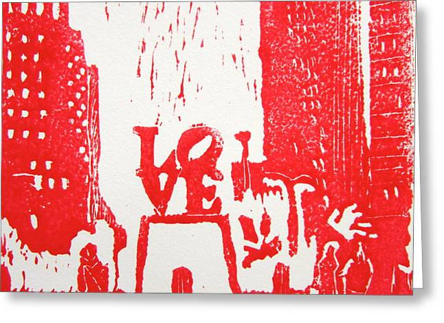 Love Park In Red Greeting Card by Marita McVeigh
