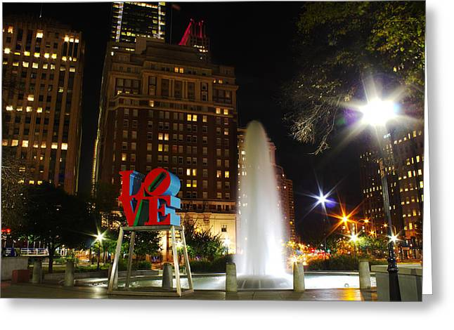 Downtown Franklin Digital Greeting Cards - Love Park Greeting Card by Jacob Leff