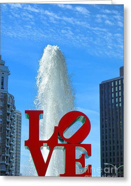 Center City Greeting Cards - LOVE Park Greeting Card by Olivier Le Queinec