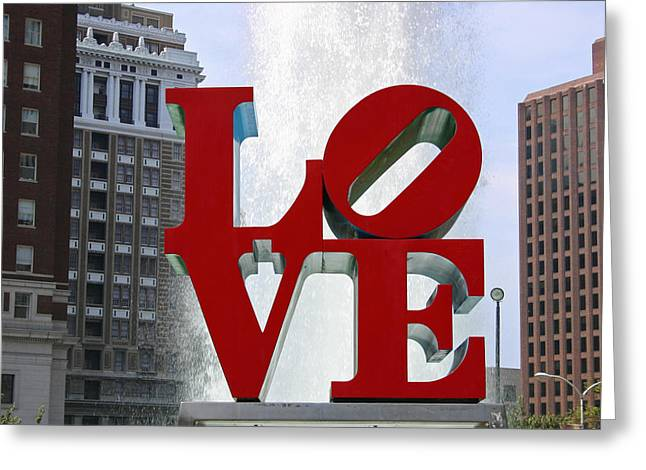 """jfk Plaza"" Greeting Cards - Love Park Philadelphia Greeting Card by Chris Bradshaw"
