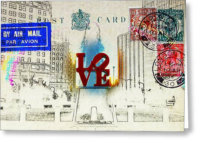 """love Park"" Greeting Cards - Love Park Post Card Greeting Card by Bill Cannon"