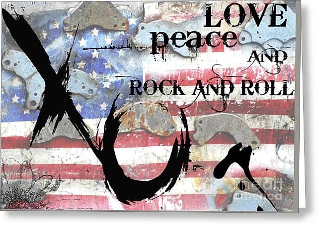 Red White And Blue Mixed Media Greeting Cards - Love Peace and Rock and Roll Greeting Card by Anahi DeCanio