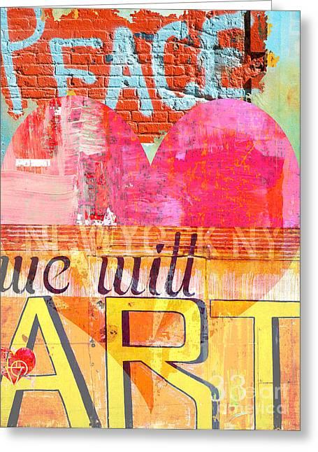 Anahi Decanio Mixed Media Greeting Cards - Love Peace Art Graf Greeting Card by Anahi DeCanio