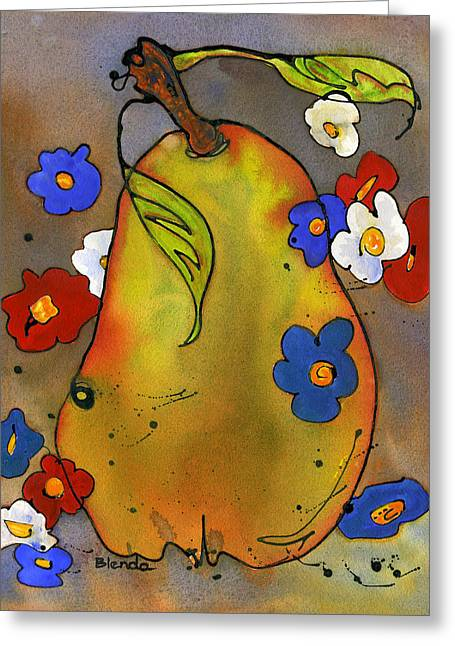 Dining Room Art Greeting Cards - Love Pear  Greeting Card by Blenda Studio