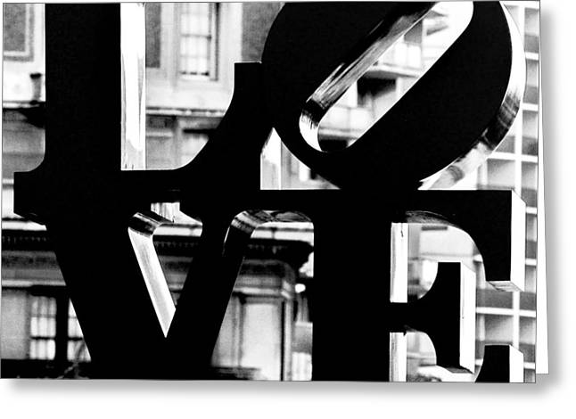 """robert Indiana"" Greeting Cards - LOVE Philadelphia Black and White  Greeting Card by Terry DeLuco"