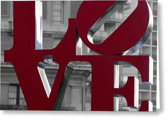 All You Need Is Love Greeting Cards - LOVE Philadelphia Dark Red  Greeting Card by Terry DeLuco