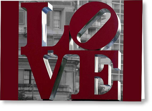 Love Sculpture Greeting Cards - LOVE Philadelphia Dark Red  Greeting Card by Terry DeLuco
