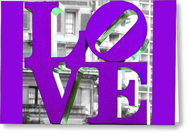 Love Sculpture Greeting Cards - LOVE Philadelphia Purple Greeting Card by Terry DeLuco