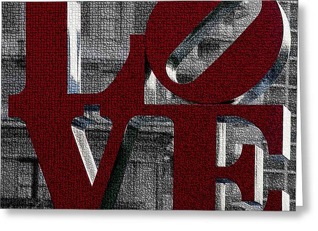All You Need Is Love Greeting Cards - Love Philadelphia Red Mosaic Greeting Card by Terry DeLuco