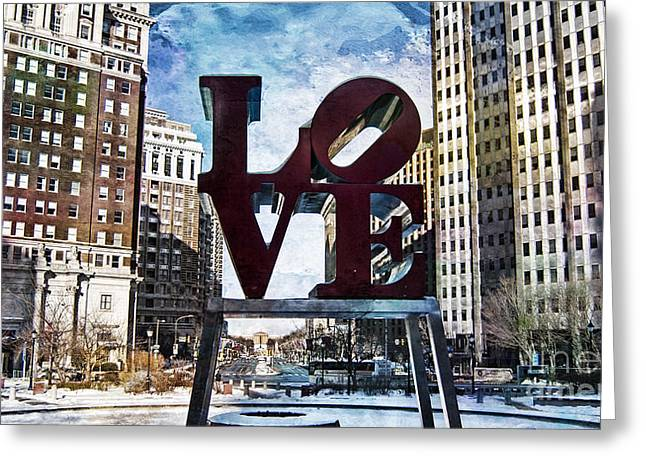 John F. Kennedy Plaza Greeting Cards - Love-Philly Greeting Card by Douglas Barnard